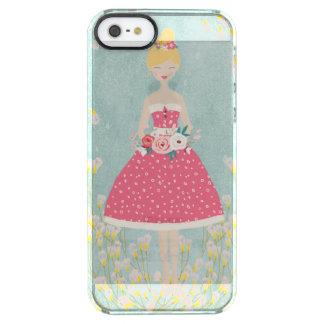 De vintage Zomer van het Meisje en van de Doorzichtig iPhone SE/5/5s Hoesje