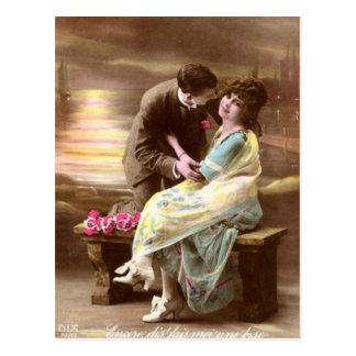 De vintage Zonsondergang van Valentijn Briefkaart