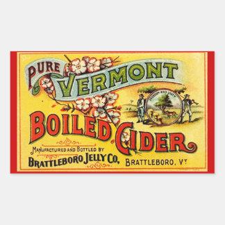De Vintage Zuivere Vermont Gekookte Cider Oude Rechthoekige Sticker