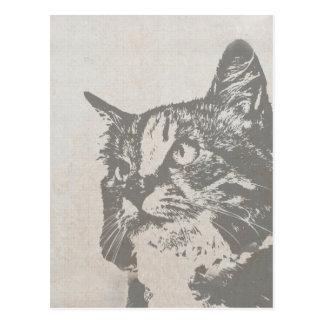 De vintage Zwart-witte Illustratie van de Kat Briefkaart