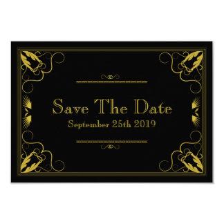 De vintage Zwarte Goud Vergulde Leeftijd bewaart 8,9x12,7 Uitnodiging Kaart