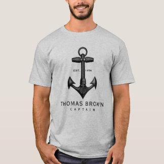 De vintage Zwarte Kapitein van het Roeien van het T Shirt