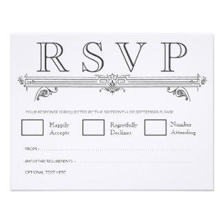 De vintage Zwarte & Witte Elegante Kaarten van het Aankondigingen
