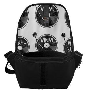 De vinyl Zwart-witte Draaischijf van het Verslag Courier Bags