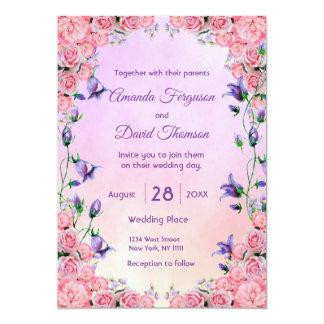 De violette en roze bloemenkaart van de kaart