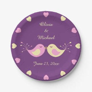 De violette Gele Gepersonaliseerde Vogels van de Papieren Bordje
