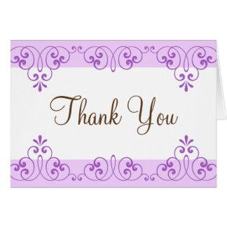 De violette grenzen van het kantdamast danken u briefkaarten 0