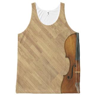 De Viool van Stradivari op het Houten Effect van All-Over-Print Tank Top