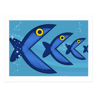 De vissen eten vissen briefkaart