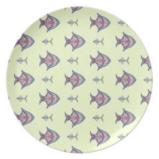 De vissen van de röntgenstraal op citroengeel melamine+bord
