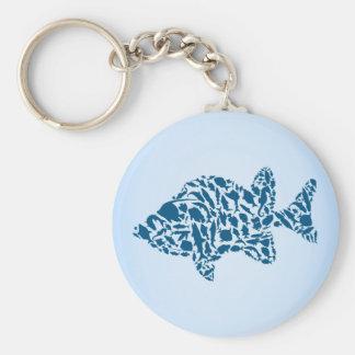 De vissen van het silhouet basic ronde button sleutelhanger