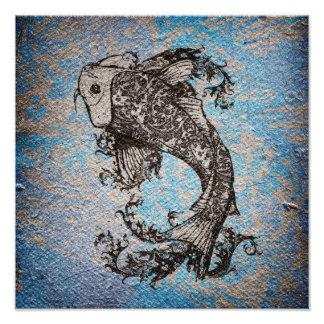De Vissen van Koi Foto Afdruk