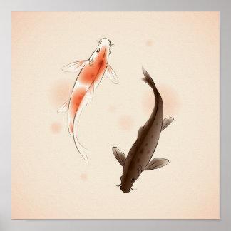 De vissen van Yang Koi van Yin in het oosterse sti Poster