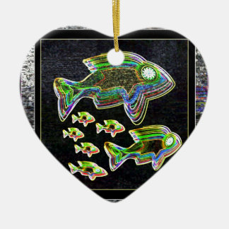De VISSEN verlichtten grafische artistieke Keramisch Hart Ornament
