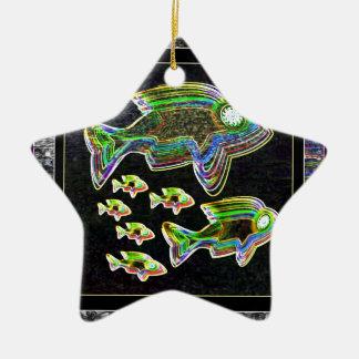 De VISSEN verlichtten grafische artistieke Keramisch Ster Ornament