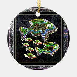 De VISSEN verlichtten grafische artistieke Rond Keramisch Ornament