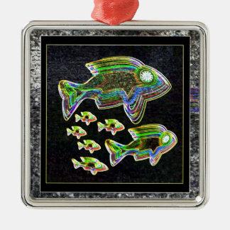 De VISSEN verlichtten grafische artistieke Zilverkleurig Vierkant Ornament