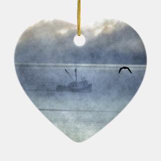 De vissende Vissers van Nova Scotia van de Treiler Keramisch Hart Ornament