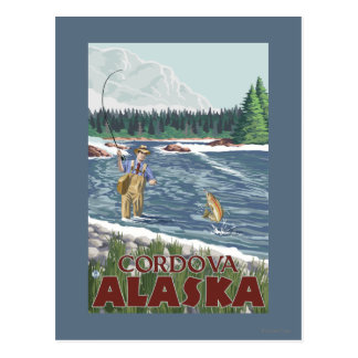 De Visser van de vlieg - Cordova, Alaska Briefkaart