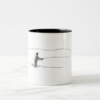 De visser van de vlieg tweekleurige koffiemok
