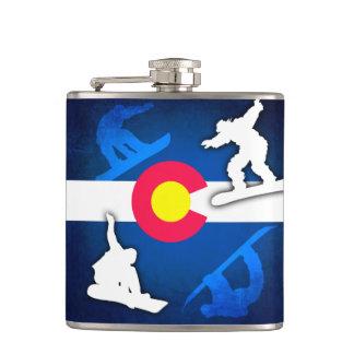 De vlag grunge snowboarder fles van Colorado Heupfles