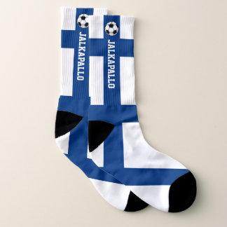 De Vlag Jalkapallo van Finland en Uw Tekst Sokken