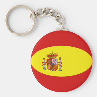 De Vlag Keychain van Spanje Fisheye Basic Ronde Button Sleutelhanger