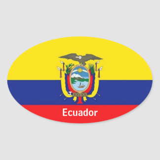 De vlag ovale stickers van Ecuador