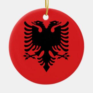 De Vlag van Albanië Rond Keramisch Ornament