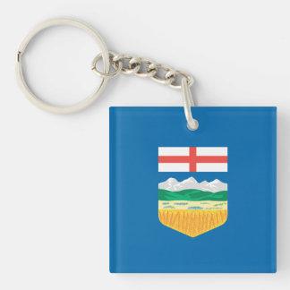 De Vlag van Alberta 2-Zijde Vierkante Acryl Sleutelhanger
