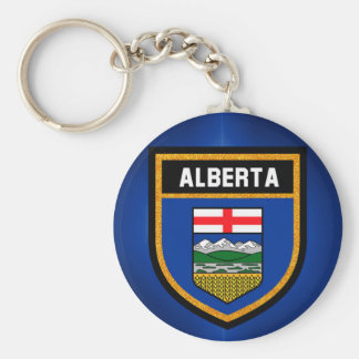 De Vlag van Alberta Basic Ronde Button Sleutelhanger
