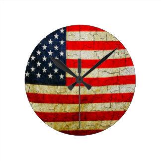 De vlag van Amerika van Grunge Ronde Klok