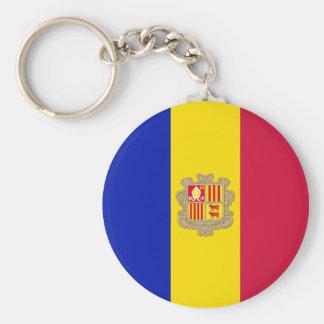 De Vlag van Andorra Basic Ronde Button Sleutelhanger