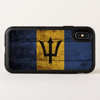 De Vlag van Barbados op Oude Houten Korrel OtterBox Symmetry iPhone X Hoesje