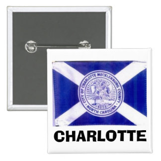 De Vlag van Charlotte Noord-Carolina Vierkante Button 5,1 Cm