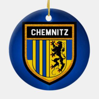 De Vlag van Chemnitz Rond Keramisch Ornament