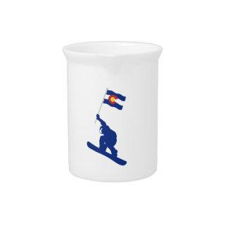 De Vlag van Colorado Snowboard Drank Pitcher