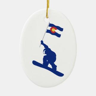 De Vlag van Colorado Snowboard Keramisch Ovaal Ornament