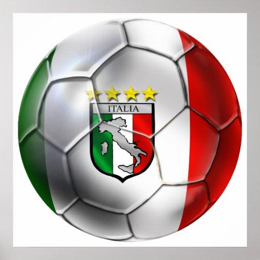 De vlag van de bal van het voetbal van italië forz plaat