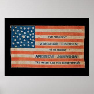 De Vlag van de Banner van de Campagne van Lincoln Poster