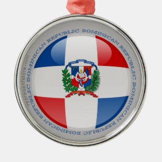 De Vlag van de Bel van de Dominicaanse Republiek Zilverkleurig Rond Ornament
