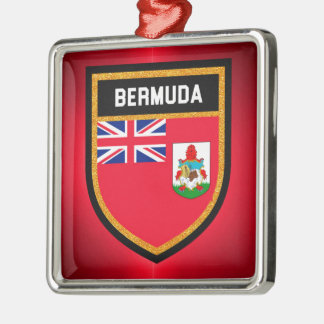 De Vlag van de Bermudas Zilverkleurig Vierkant Ornament