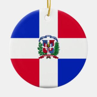 De Vlag van de Dominicaanse Republiek Rond Keramisch Ornament