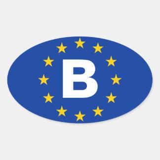 """De Vlag van de Europese Unie van VIER België """"B"""" Ovale Sticker"""