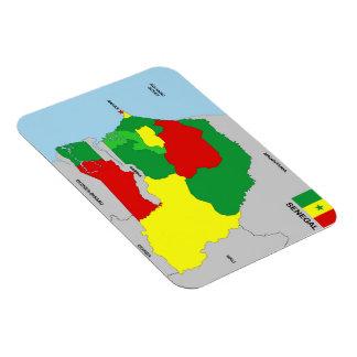 de vlag van de het landkaart van Senegal Magneet
