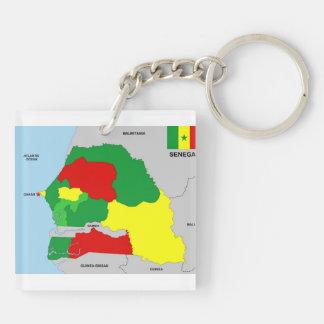 de vlag van de het landkaart van Senegal Sleutelhanger