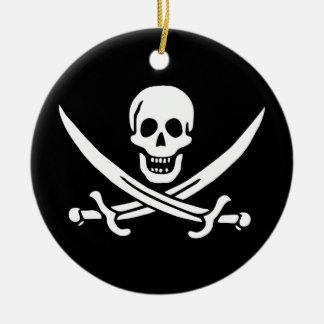 De Vlag van de Piraat van Rackham van de hefboom Rond Keramisch Ornament