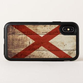 De Vlag van de Staat van Alabama op Oude Houten OtterBox Symmetry iPhone X Hoesje