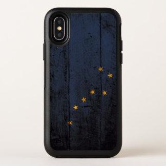 De Vlag van de Staat van Alaska op Oude Houten OtterBox Symmetry iPhone X Hoesje