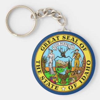 De Vlag van de Staat van Idaho Basic Ronde Button Sleutelhanger